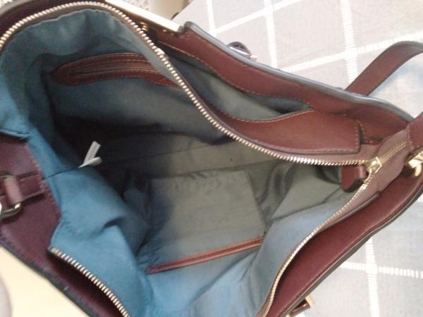 Image 2 of Clarkes handbag with crossbody straps Burgundy mock croc  st
