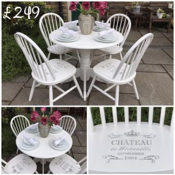 French Chic Dining Table 4 Chateau Marseille Grey Stenciled Chairs The Set Has Been Painted In Pristine White And Finished With Satin Varnish To