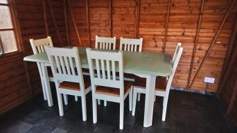 Painted Dining Table And 6chairs