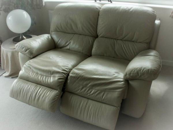 DOUBLE reclining cream leather - 2 seater sofa