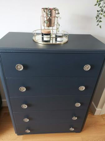 Image 2 of Vintage 1960s Handpainted 5 drawer chest