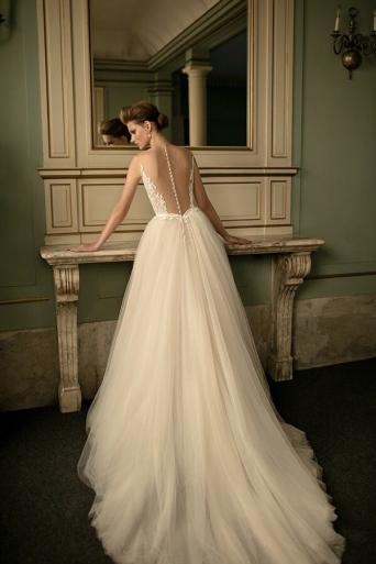 A Beautiful Berta Wedding Dress Style 16 25 It Is Handcrafted Lace With Pearls Embellishments Illusion Neckline And Detachable Soft Tulle Skirt