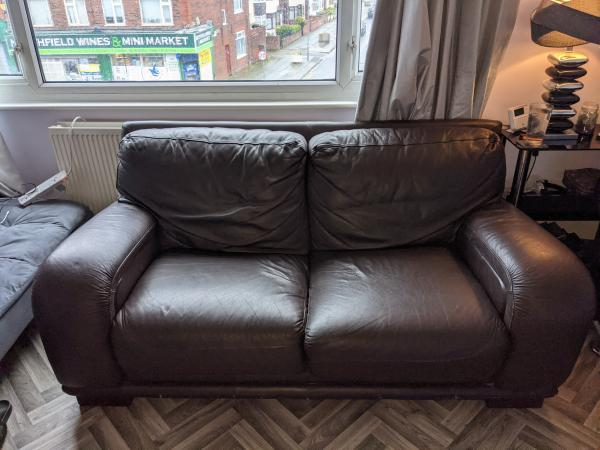 Image 1 of Brown Leather Couch