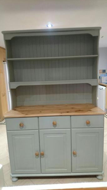 Beautiful Refurbished Solid Pine Welsh Dresser Painted In Farrow Ball French Gray Which Is A Lovely Grey Green Colour Top Has Natural Wax