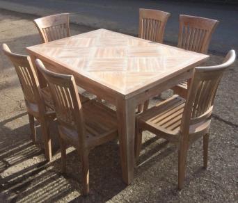Limed Hardwood Coffee Table 6 Chairs