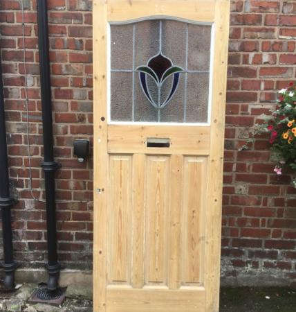Original 1930s Solid Pine Front Door With 10 Opening Lights For Sale