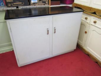 Large Vintage Retro Freestanding Base Cupboard With Middle Shelf Needs A Coat Of Paint But Otherwise Sound It Has Black Formica Type Work Top Which Is