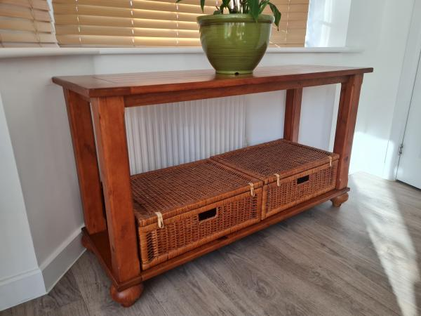 Image 2 of INDONESIAN CONSOLE TABLE WITH BASKET STORAGE