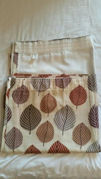 "Regan Curtains from Dunelm Mill Width 90"" Drop 72"" Terracotta Lined Pencil pleat (tape not pulled) Excellent condition with no sun damage Non smoking pet ..."