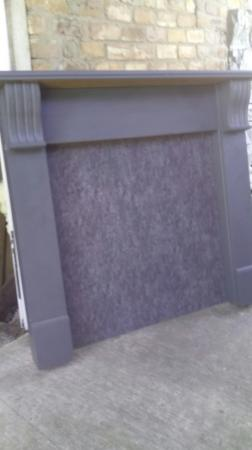 Image 1 of Wooden Mantlepiece Fire Surround With Matching Back Panel