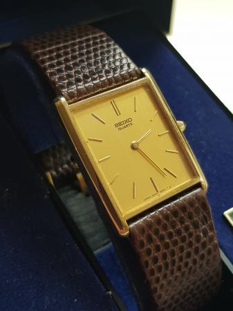 Image 2 of Mens older seiko quartz tank watch 6020 5050 boxed